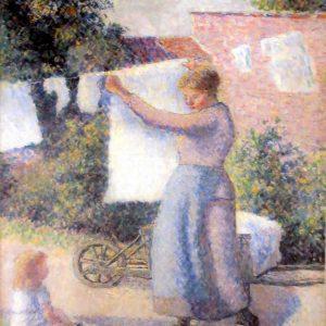 """FEMME ENTENDANT DU LIGNE by Camille Pissarro, 8""""x10"""
