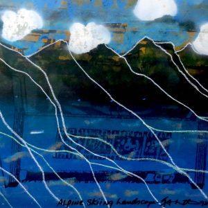 "ALPINE SKIING LANDSCAPE, 1998 by Ian Baxter&, 41""x31"""