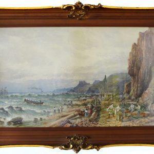 "Seascape Coast by William Nichol Cresswell (RCA, OSA), 26""x14.5"""