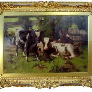 """Ayrshire Calf by David Gould, 21.25""""x29"""""""