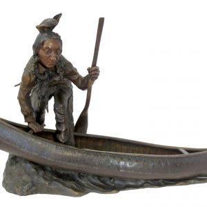 Bronze Indian in Canoe by Carl Kauba